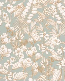 Papier peint fleurs Caselio Flower Power May Vert d'eau doré FLP101857024