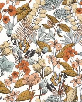 Papier peint fleurs Caselio Flower Power May Vert Ocre Rose FLP101857241