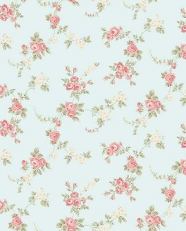 Papier peint floral Lutèce Abby Rose 4 Chic Rose fond vert amande AB27659