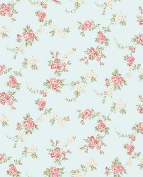 Papier peint floral Lutèce Abby Rose 4 Chic Rose font vert amande AB27659