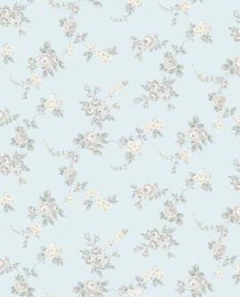 Papier peint floral Lutèce Abby Rose 4 Chic Gris fond aqua AF37706