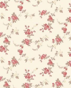 Papier peint floral Lutèce Abby Rose 4 Chic Rose Rouge fond beige AF37708