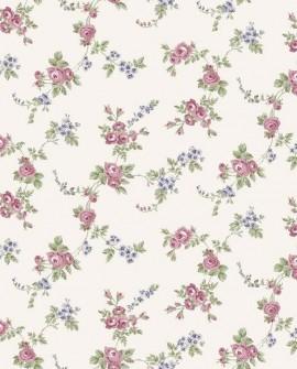 Papier peint floral Lutèce Abby Rose 4 Chic Rose fond écru AF37707