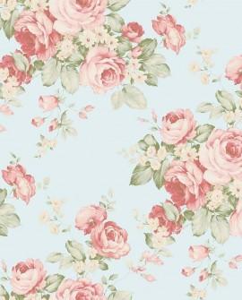 Papier peint floral Lutèce Abby Rose 4 Grand floral vert AB27615