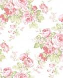 Papier peint floral Lutèce Abby Rose 4 Grand floral rose et vert AB27612