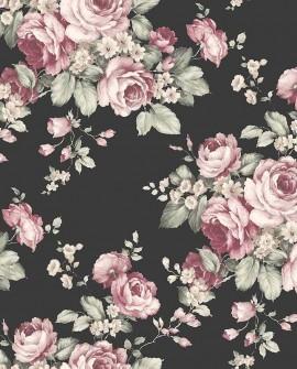 Papier peint floral Lutèce Abby Rose 4 Grand floral Noir AF37700