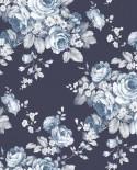Papier peint floral Lutèce Abby Rose 4 Grand floral Marine AF37703