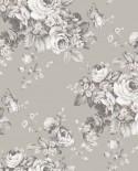 Papier peint floral Lutèce Abby Rose 4 Grand floral Gris AF37701
