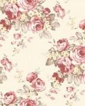 Papier peint floral Lutèce Abby Rose 4 Grand floral Rouge fond crème AF37702
