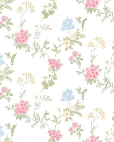 Papier peint floral Lutèce Abby Rose 4 Guirlande de fleurs Rose vif AF37735