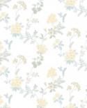 Papier peint floral Lutèce Abby Rose 4 Guirlande de fleurs Jaune AF37733