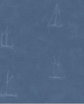 Papier peint Casadeco Marina Bateau Bleu MRN25046141
