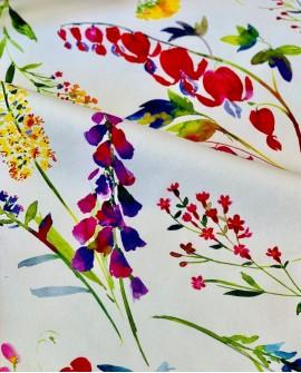 Rideau floral coton Thevenon Virginie fond Crème 2251601