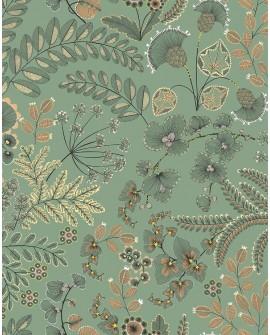 Rideau coton Thevenon Phoenix fond vert d'eau 2213616