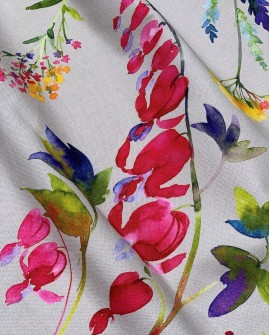 Rideau floral coton Thevenon Virginie fond Ficelle 2251602