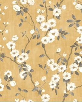 Papier peint Tropical Delicacy Casadeco Springflower Jaune noir DELY85392403