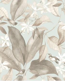 Papier peint Tropical Delicacy Casadeco Birdsong Bleu taupe DELY85382261