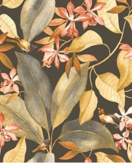 Papier peint Tropical Delicacy Casadeco Birdsong Noir jaune orange DELY85382347