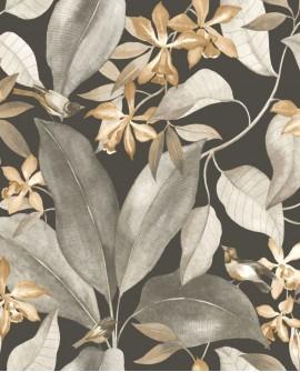 Papier peint Tropical Delicacy Casadeco Birdsong Noir taupe DELY85382414