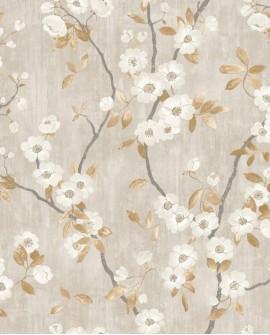 Papier peint Tropical Delicacy Casadeco Springflower Taupe noir DELY85392327