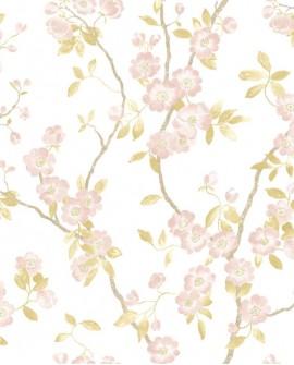 Papier peint Tropical Delicacy Casadeco Springflower Taupe rose DELY85394346