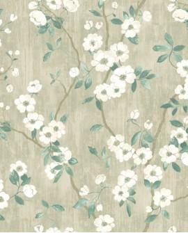 Papier peint Tropical Delicacy Casadeco Springflower Vert jaune DELY85397298