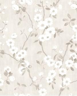 Papier peint Tropical Delicacy Casadeco Springflower Blanc gris DELY85399171