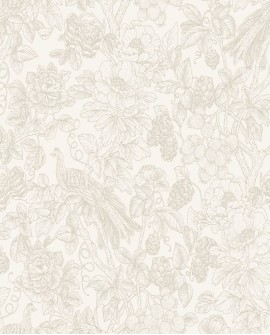Papier peint Tropical Delicacy Casadeco Feather Taupe DELY85361274