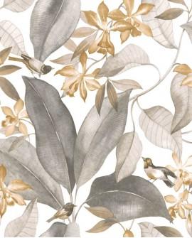 Tissu Tropical Delicacy Casadeco Birdsong Noir taupe DELY85441454