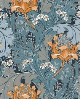 Papier peint vintage Oxford Casadeco Jane Orange Bleu pétrole OXFD84066226
