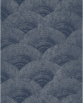 Papier peint vintage Oxford Casadeco Eventail Bleu argent OXFD84096505 OXFD84096505