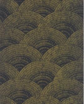 Papier peint vintage Oxford Casadeco Eventail Noir or OXFD84099515