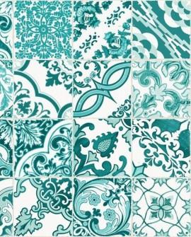 Papier peint Rasch Cabana Azulejos Vert 140-148635