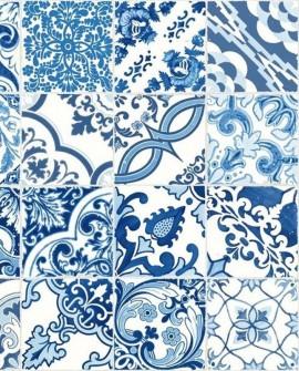 Papier peint Esta Home Cabana Azulejos Bleu 148636
