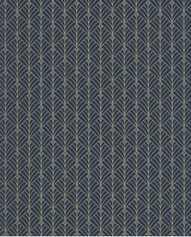 Papier peint géométrique Scarlett Caselio MISTINGUETT BLEU NUIT OR SRL100436120