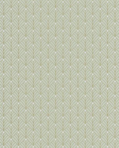 Papier peint géométrique Scarlett Caselio MISTINGUETT VERT AMANDE OR SRL100437070