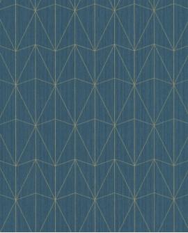 Papier peint géométrique Caselio SCARLETT CHRYSLER BLEU CANARD OR SRL100446060
