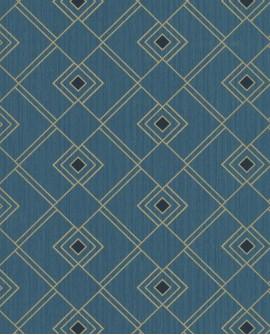 Papier peint géométrique Caselio SCARLETT GATSBY BLEU CANARD OR SRL100476050