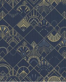 Papier peint géométrique Caselio SCARLETT GOLDEN YEARS BLEU NUIT OR SRL100456023