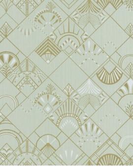 Papier peint géométrique Caselio SCARLETT GOLDEN YEARS VERT AMANDE OR SRL100457098