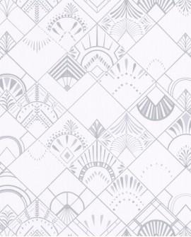 Papier peint géométrique Caselio SCARLETT GATSBY BLANC ARGENT SRL100450017