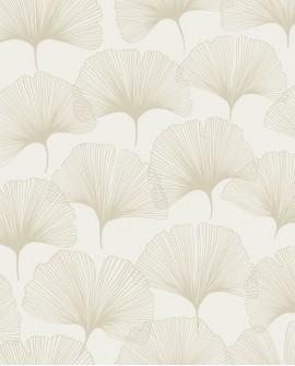 Papier peint exotique Lutece City Chic Gingko beige nacré 347730