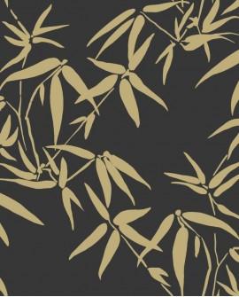 Papier peint exotique Lutece City Chic Bambous noir et or 347740