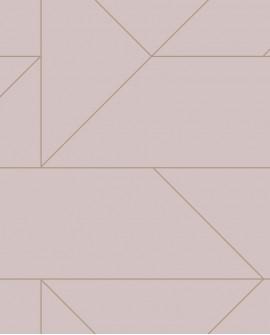 Papier peint géométrique Lutece City Chic Ligne graphique vieux rose et or 347721