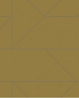 Papier peint géométrique Lutece City Chic Ligne graphique moutarde et argent 347723