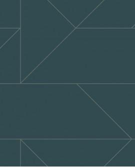 Papier peint géométrique Lutece City Chic Ligne graphique bleu foncé et argent 347725