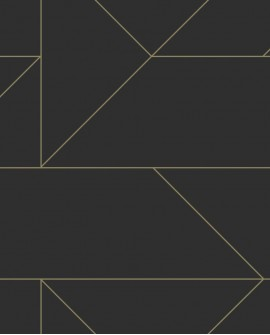 Papier peint géométrique Lutece City Chic Ligne graphique noir et or 347726