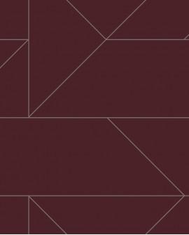 Papier peint géométrique Lutece City Chic Ligne graphique bordeaux et argent 347727