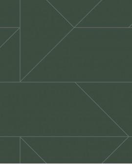 Papier peint géométrique Lutece City Chic Ligne graphique vert et argent 347728