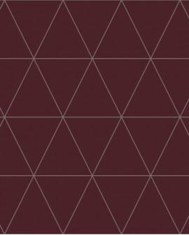 Papier peint géométrique Lutece City Chic Triangle argent fond bordeaux 347718